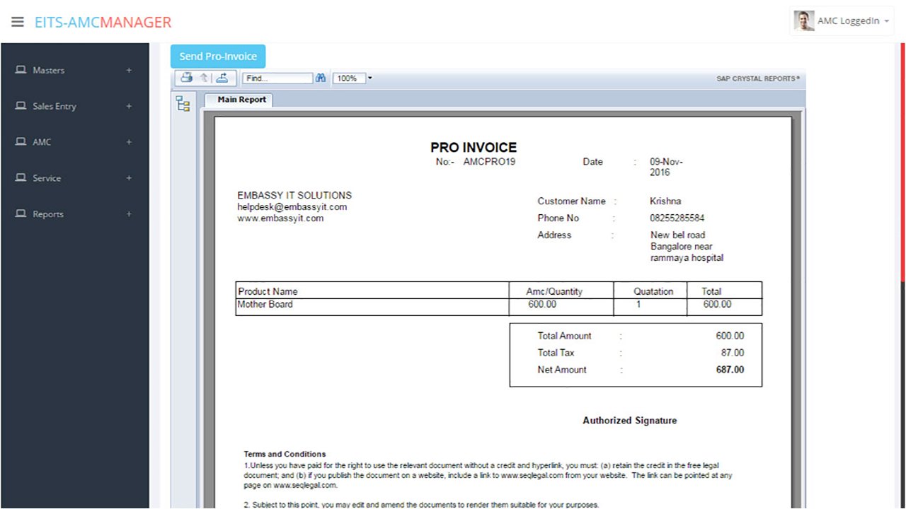 Annual Maintenance contract Software | AMC reminder software